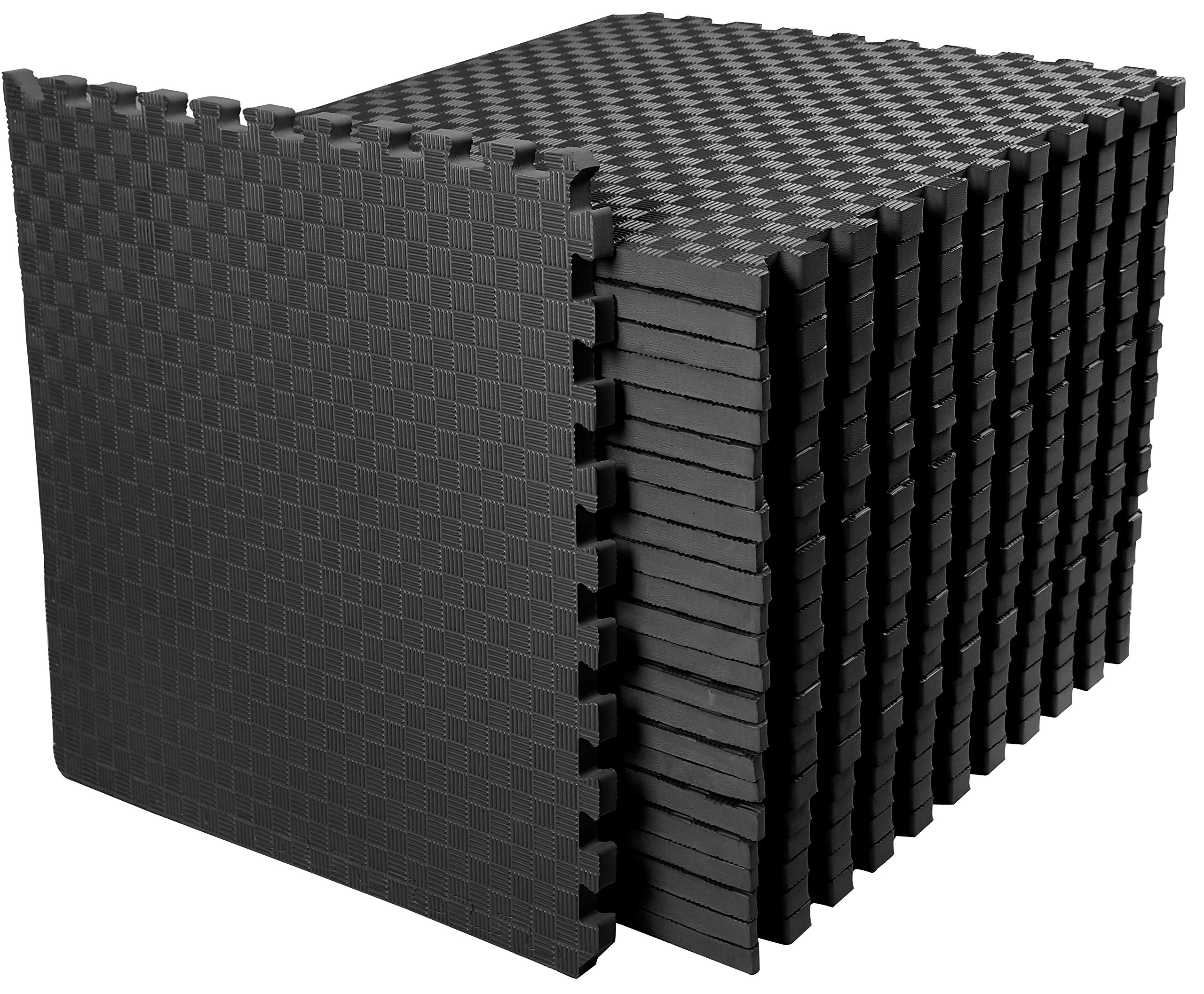 BalanceFrom 1'' Extra Thick Puzzle Exercise Mat with EVA Foam Interlocking Tiles for MMA, Exercise, Gymnastics and Home Gym Protective Flooring, 72 Square Feet (Black)