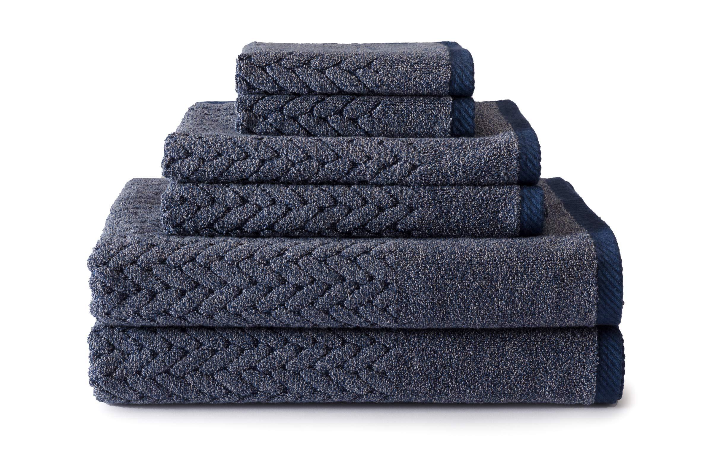 Texere 100% Organic Cotton 6-Piece Towel Set - Luxury Bath Towel (Chestnut, 6-Piece Set, Estate Blue) from Son TX-HC263-002-ESBU-R-6