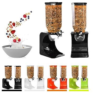 Ballino - Dispensador de cereales de plástico seco clásico para comida, individual, doble, color blanco transparente Single Green: Amazon.es: Hogar
