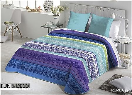 Colcha Bouti RUMBA Fundeco Cama de 105 cm Color Azul