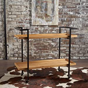 Christopher Knight Home 301871 Gerard Industrial Natural Finished Wooden Bar Cart
