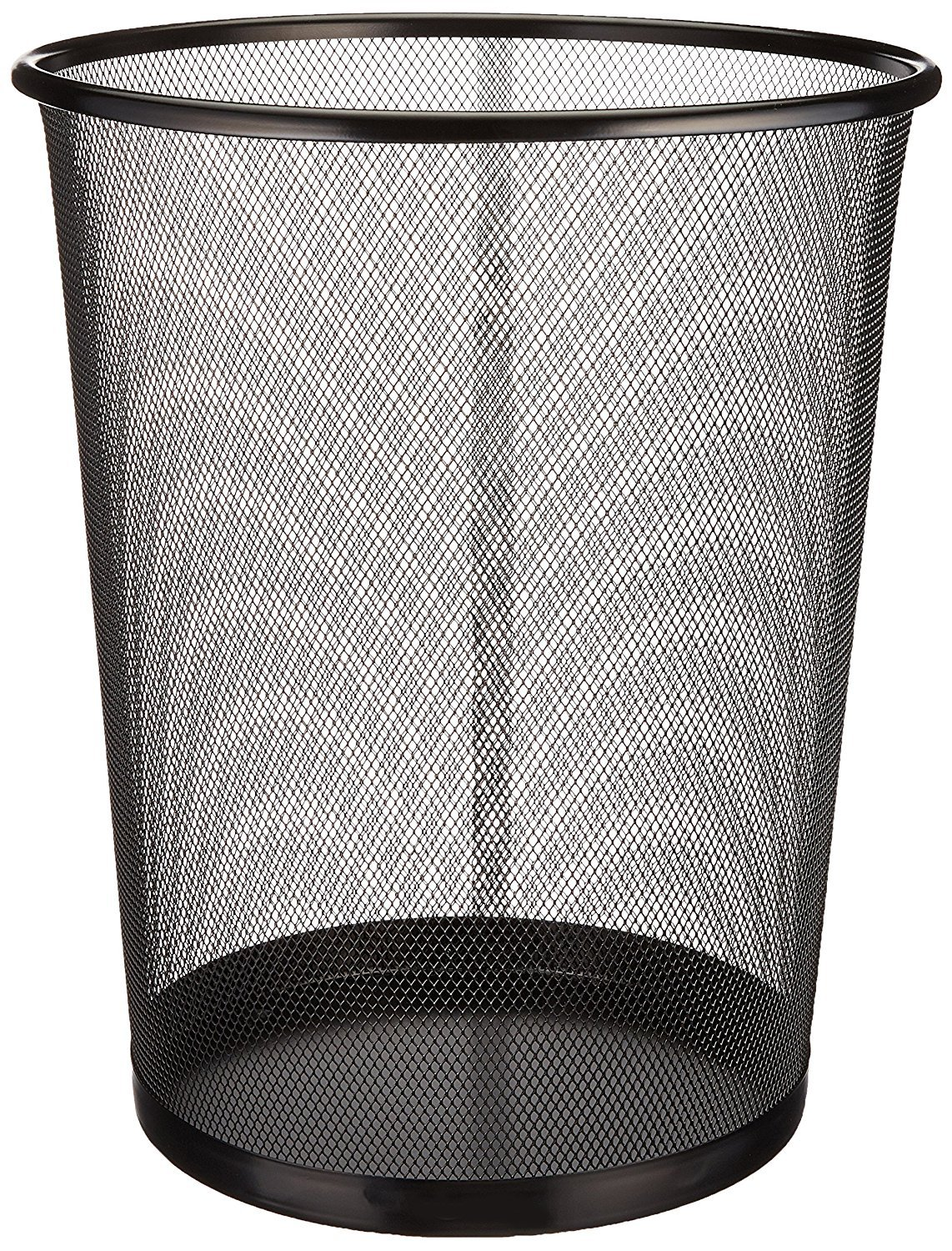 Zuvo Mesh WasteBasket Metal Wire Garbage Trash Can For Office Home Bedroom Height 10.1'' Width 10'', 4 Gallon (16 Quart) (1, Black)