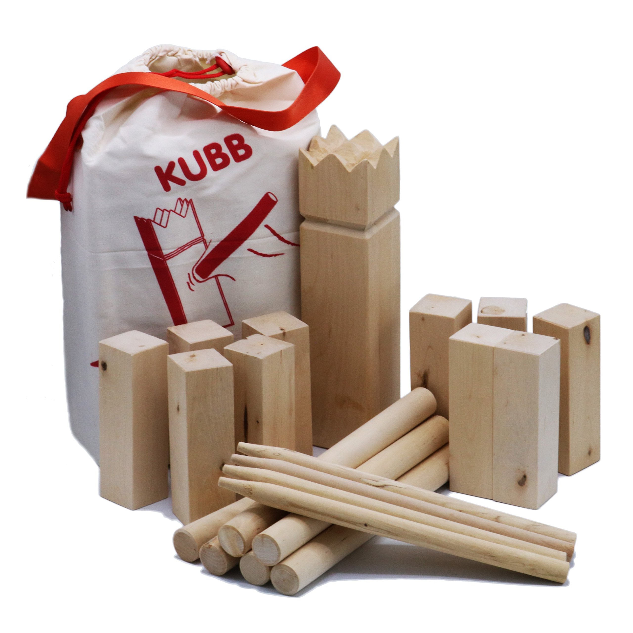 AfterGen Kubb Viking Chess Lawn Game All Wood Back Yard Games Kubb Game Premium Set Beach Games