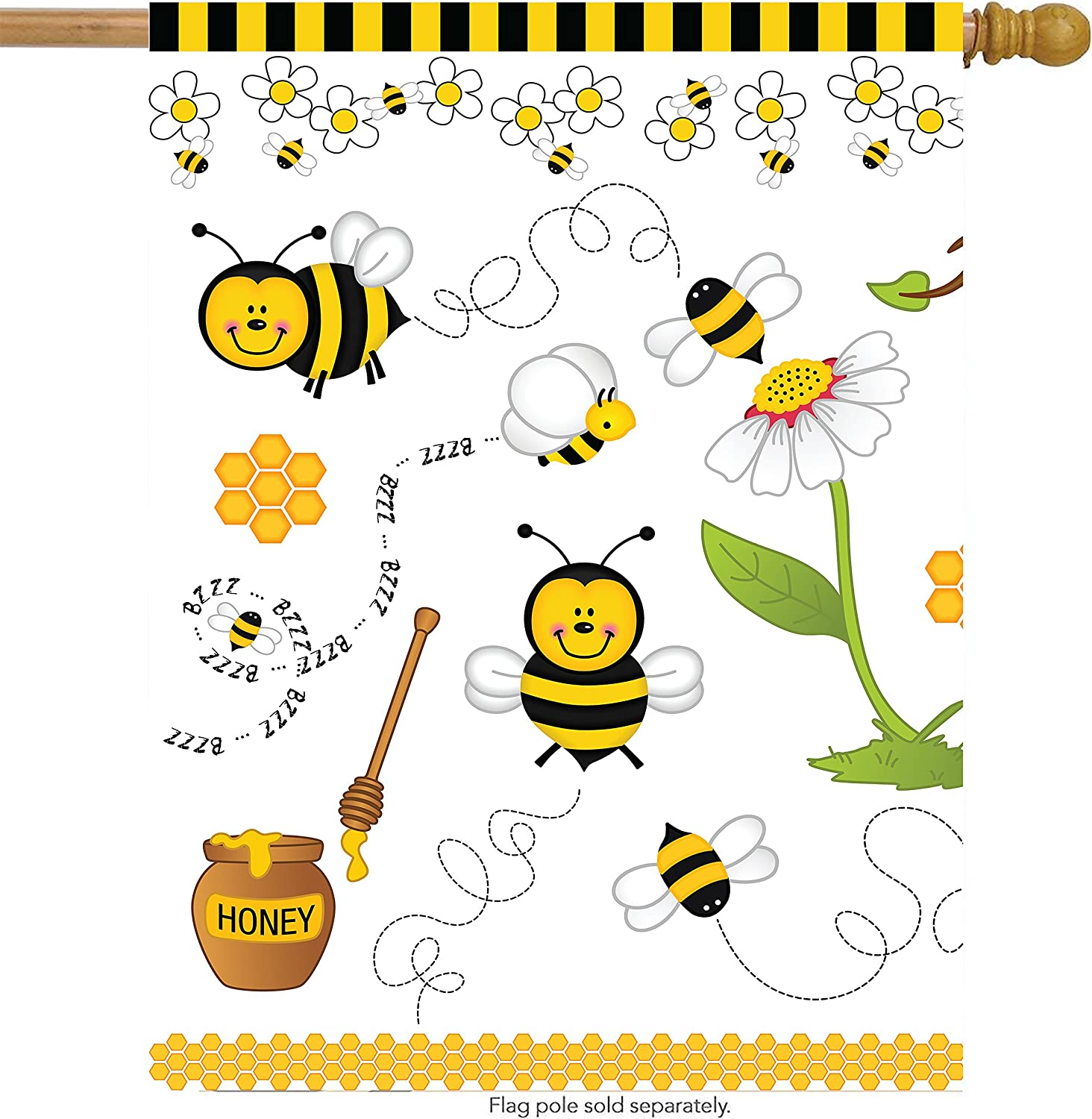 Shinesnow Cartoon Animal Cute Bees Daisy Flower House Flag 28 X 40 Double Sided Polyester Honey Pot Honeycomb Welcome Yard Garden Flag Banners For Patio Lawn Home Outdoor Decor