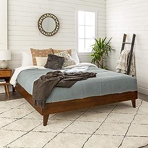Walker Edison Mid Century Modern Wood King Platform Bed Frame Bedroom (AZWKPLATWT)