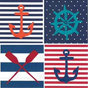 Nautical Themed Cocktail Napkins Variety Beverage Paper Napkins Assorted 80 Count Set