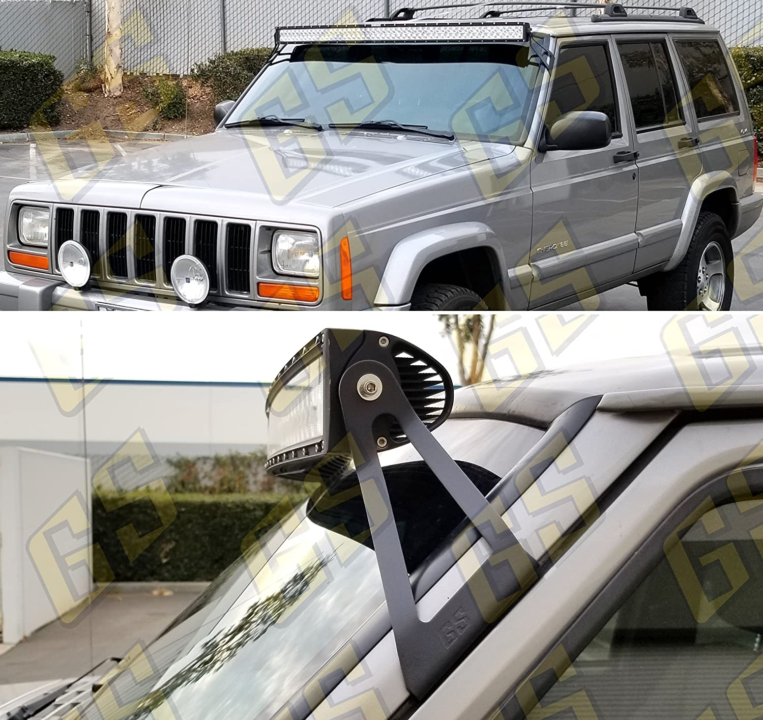 Gs Power Led Light Bar Brackets Option Of 50 52 Inch Curved Mount Off Road Barlight At Roof Upper Windshield Compatible With 1984 2001 Jeep