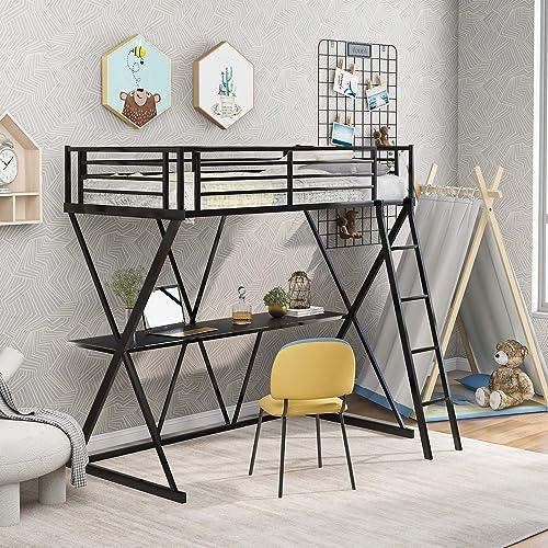 Polibi Twin Size Metal Loft Bed