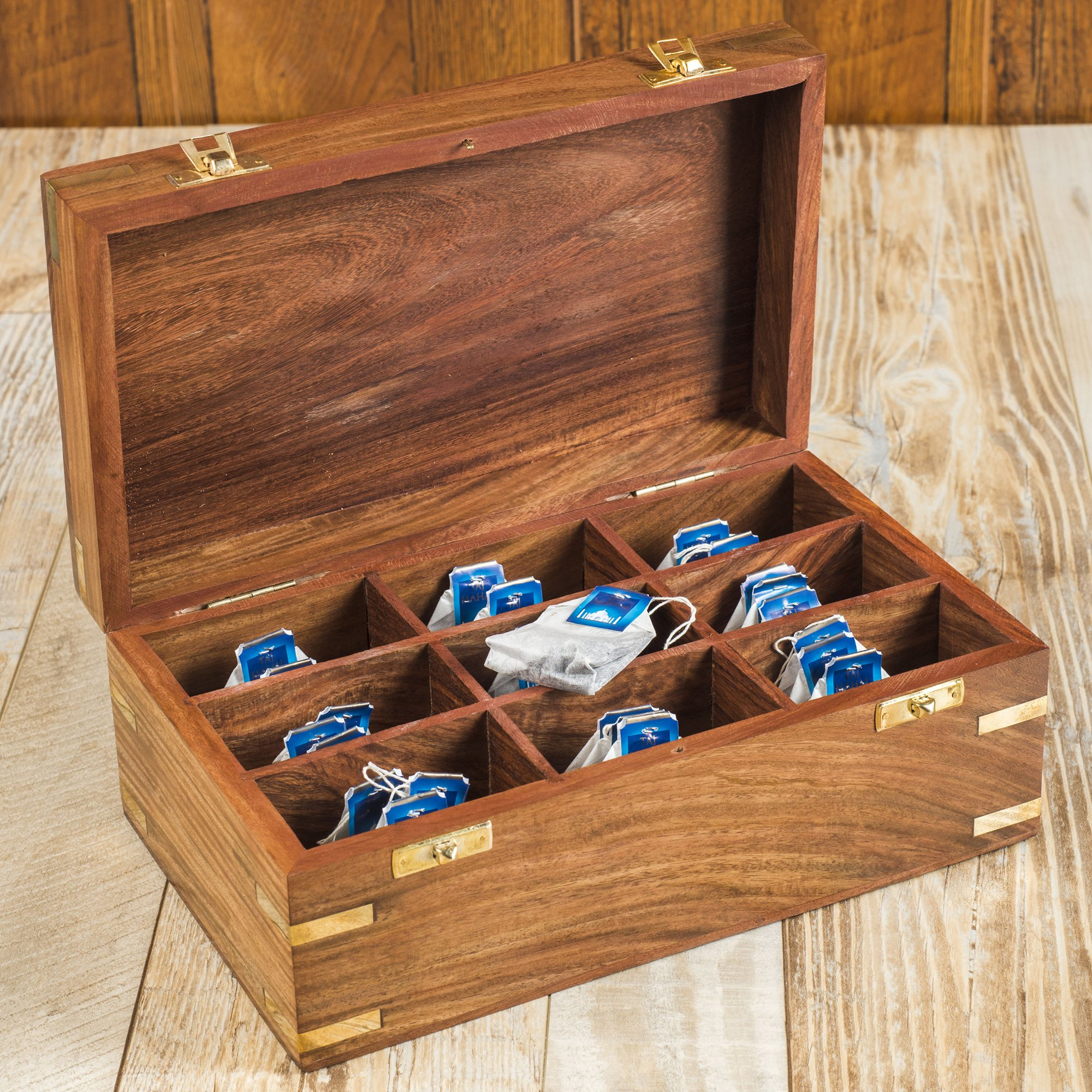 Rusticity Wood Tea Bag/Spice Storage Box with Lid and 9 pockets | Handmade | (10.2 x 6.2 x 4 in) by Rusticity (Image #1)