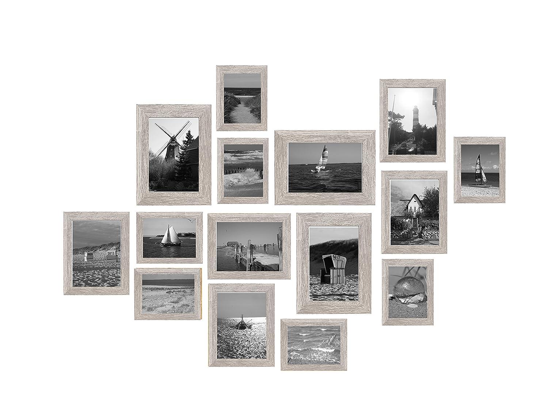 15er Bilderrahmen-Set Herkules Fotorahmen im Vintage Stil Holz Farbe  Grau 13x18 cm (7X)   18x24 cm (5X)   21x30 cm (3X)