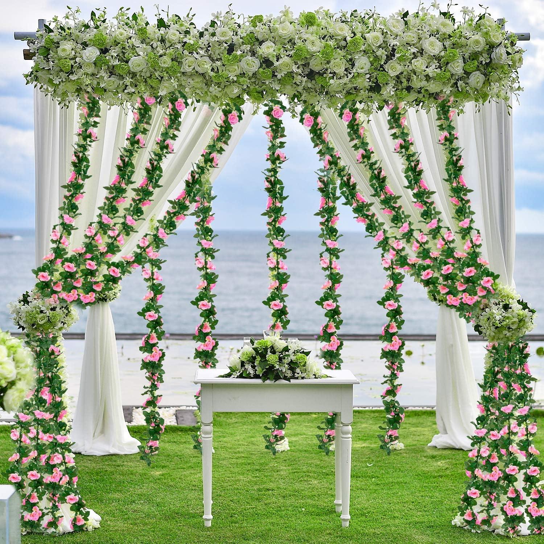 de Whaline Whaline Guirnaldas de rosas artificiales para colgar en el hogar boda jard/ín decoraci/ón de arco manualidades arreglo de arreglo de arco hotel fiesta oficina 2 unidades