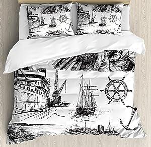 Ambesonne Nautical Duvet Cover Set, Fisherman Captain Seaman Sailboat Old Historic Sketch Monochromic Style Artwork, Decorative 3 Piece Bedding Set with 2 Pillow Shams, King Size, White Black