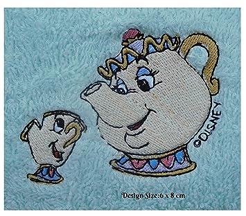 Embroidered by Hollydoodles.co.uk Mrs Potts & Chip – Toalla de baño de