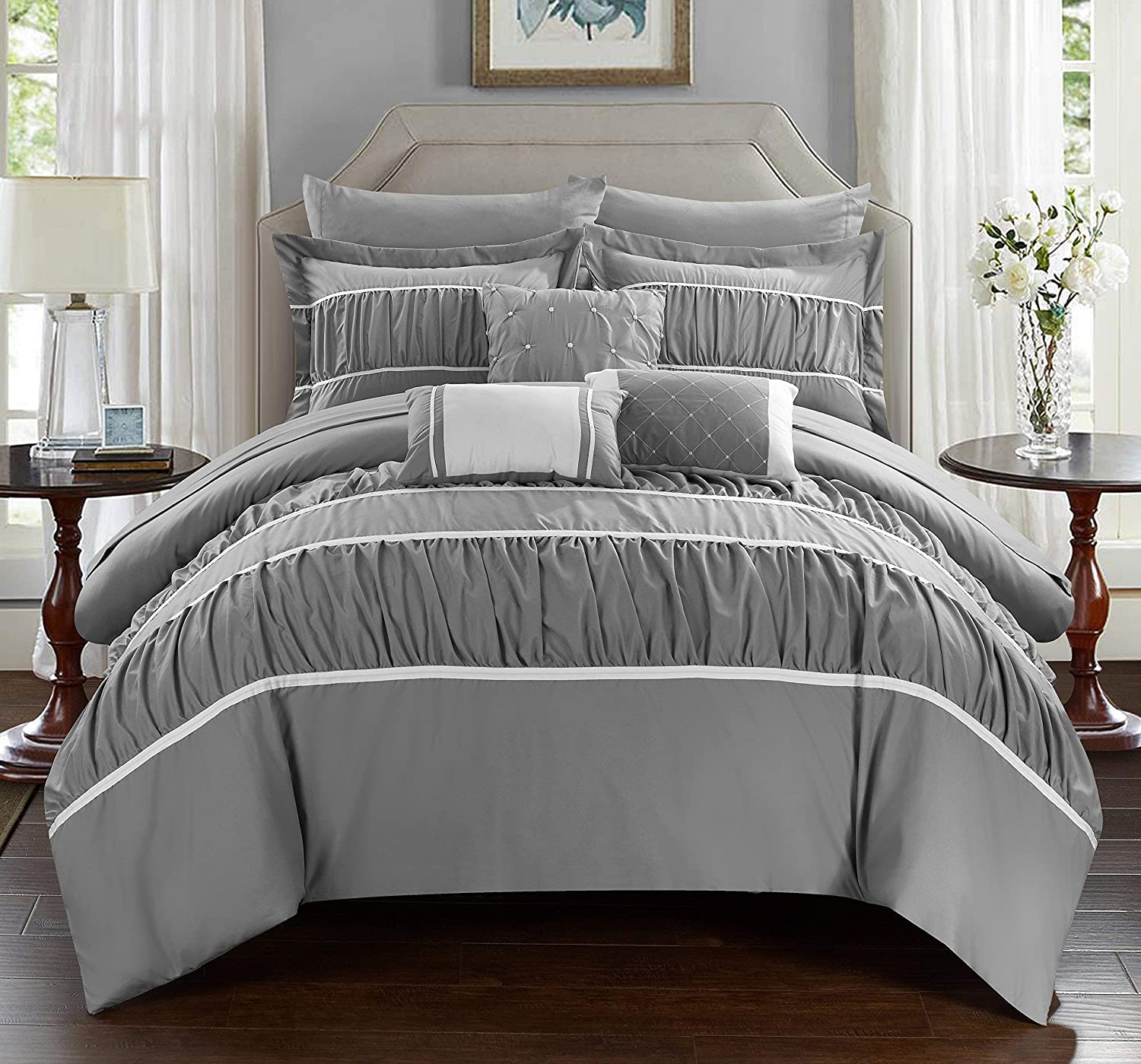 Chic Home CS2115-AN Cheryl Comforter, King, Grey