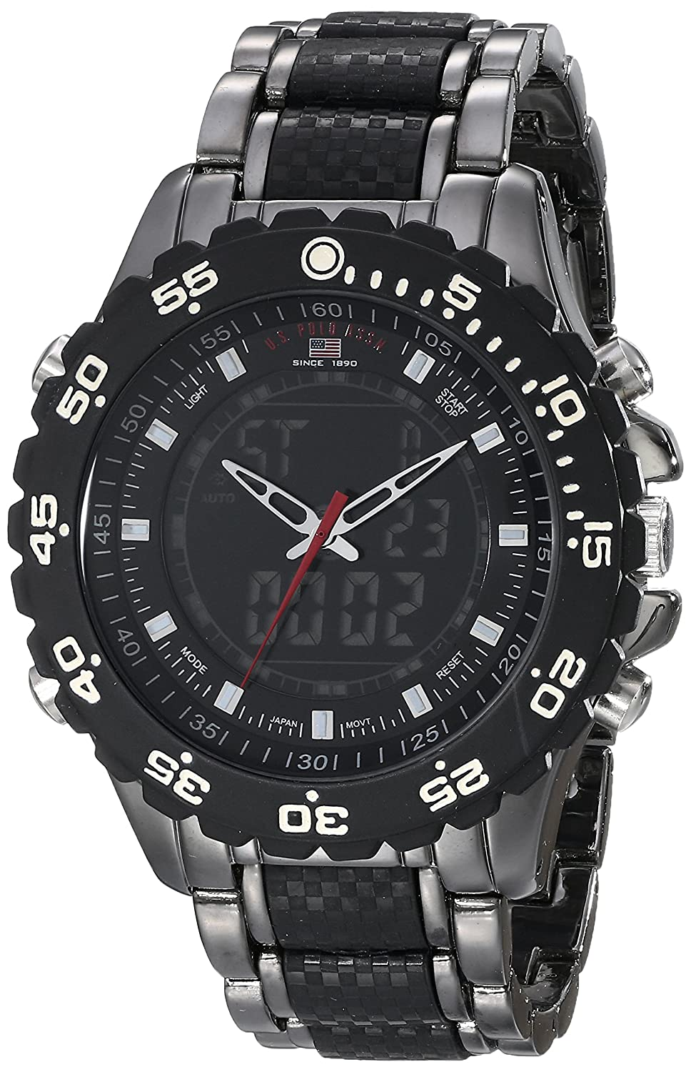 a74a1dc4603 Amazon.com  U.S. Polo Assn. Sport Men s US8170 Black and Gunmetal-Tone  Bracelet Watch  Watches