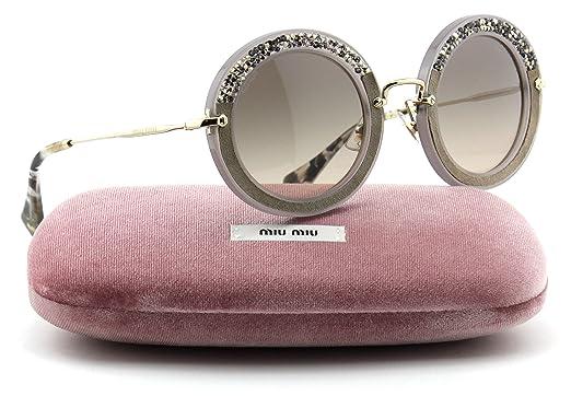 abf60c5988f5 Miu Miu MU 08RS NOIR Collection Round Crystal Embellishment Women  Sunglasses (Grey Frame, Grey