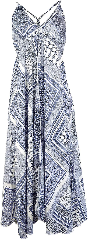 Guru-Shop Batik Maxikleid, Strandkleid, Sommerkleid, Langes Kleid - Weiß, Damen, Synthetisch, Size:40, Lange & Midi Kleider Alternative Bekleidung