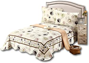 Tache Home Fashion DSW019-Full 3 PC Cotton Off White Brown Geometric Modern Summer Storm Reversible Bedspread Quilt Set, Full
