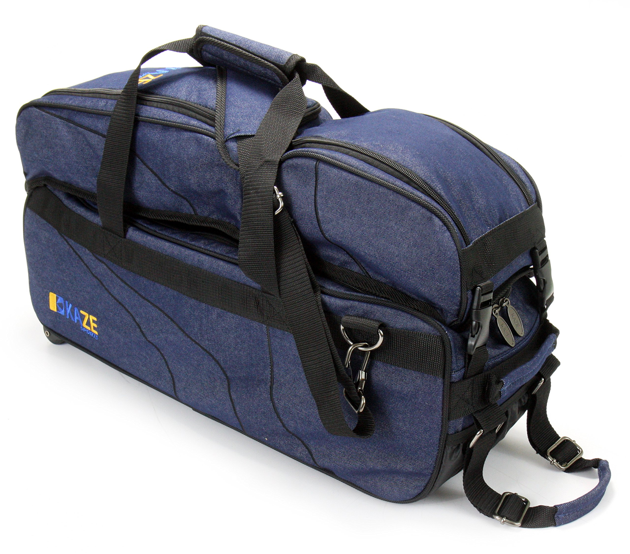 KAZE SPORTS 3 Ball Deluxe Bowling Tournament Roller Tote with Detachable Shoe & Accessory Bag, Blue