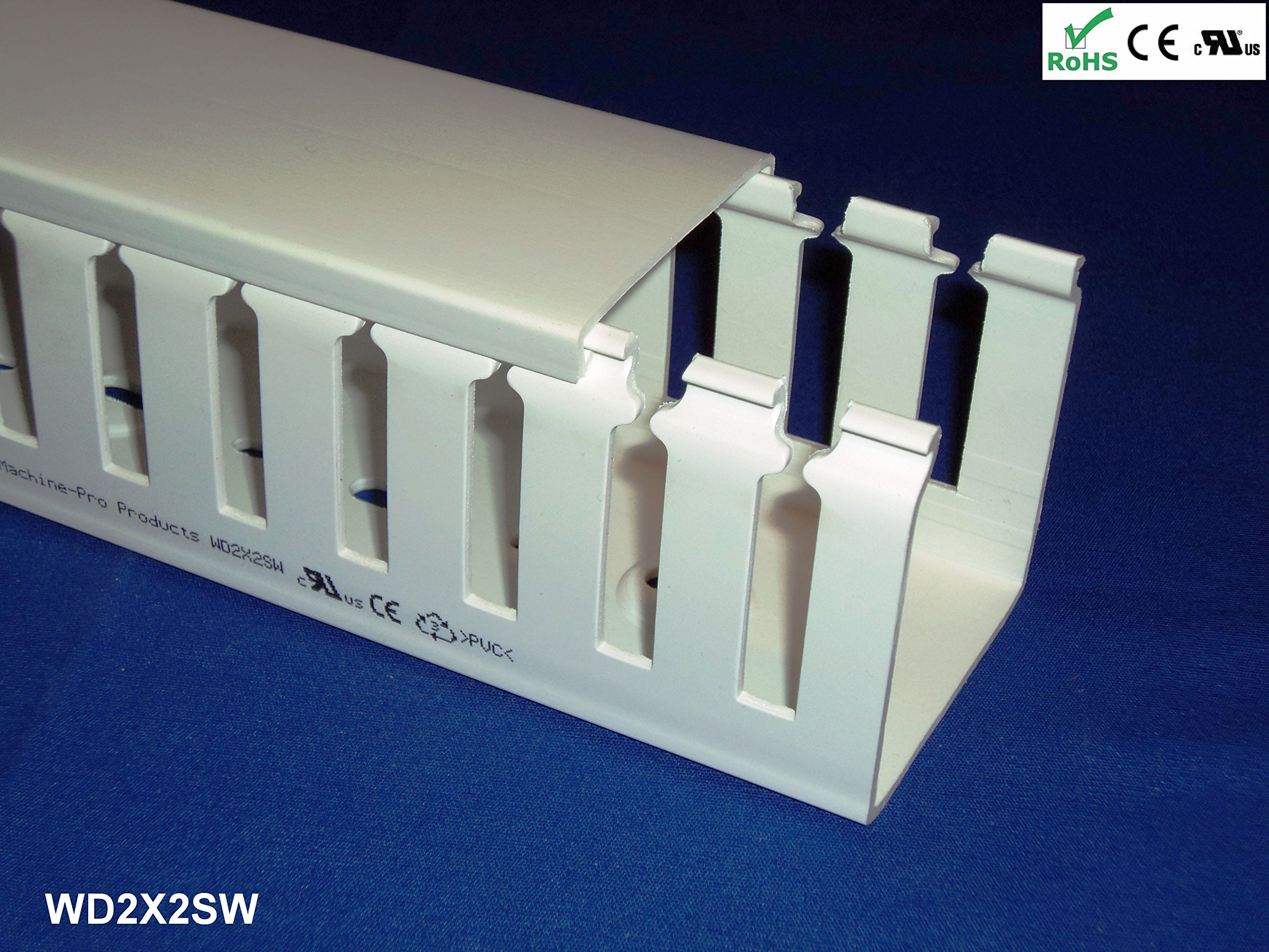12 Pack of 2x2x78 Inch(60mmx60mmx2m) Open Slot Wiring Duct/Cable Raceaway with Cover Lid - White