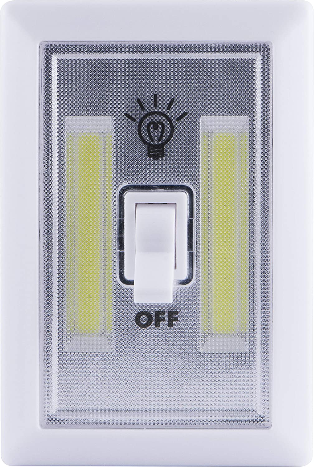 Lights By Night Wireless LED Light Switch, Battery Operated, 100 Lumens, Manual On/Off Toggle Switch, Portable Light Switch, Wireless, Easy to Use Stick-On LED Lights, No Wiring Needed, White, 39641