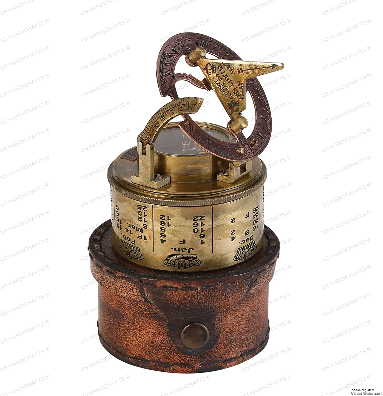 Vintage Compass NAVIGATIONAL Instrument - Marine Sundial Compass with Leather Case & Calendar….