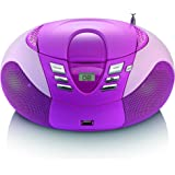 Lenco SCD - 37 Radio portatile  AM /FM con lettore CD / MP3, antenna telescopica , USB, Rosa