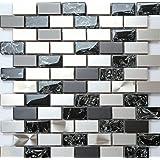 Glas Mosaik Fliesen Matte in Schwarz Texturiert Lava Baustein Effekt MT0120