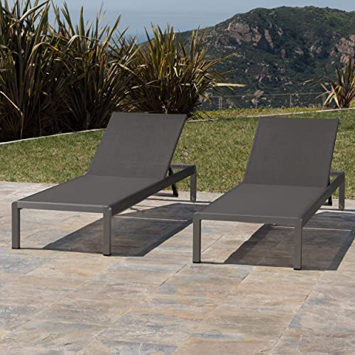 Christopher Knight Home Crested Bay Patio Furniture, Outdoor Grey Aluminum Chaise Lounge with Dark Grey Mesh Seat Set of 2