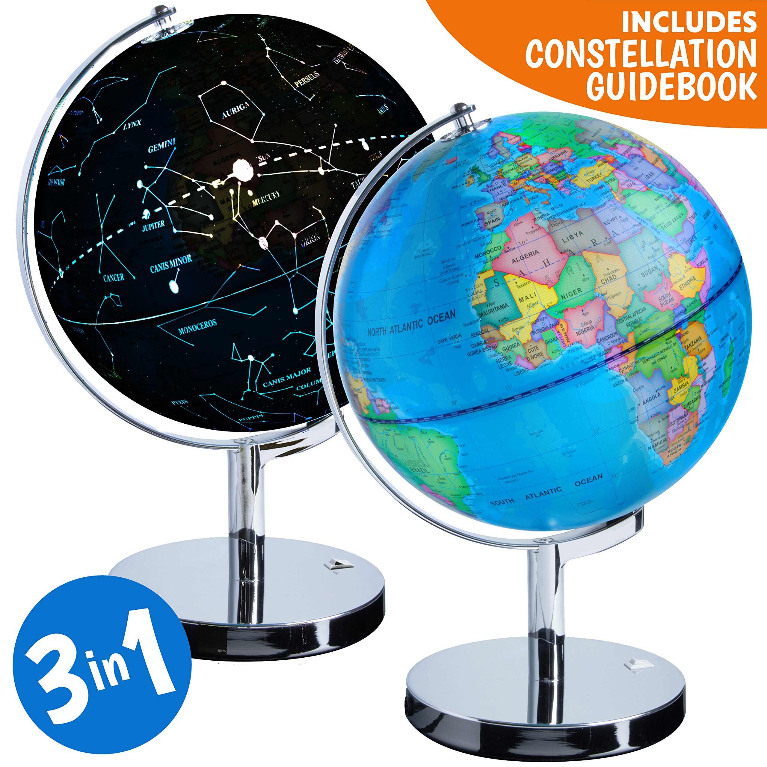 Give Kids The World Map.3 In 1 Illuminated World Globe Nightlight And Constellation Globe
