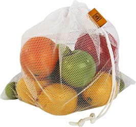 5-Pack CarryWell Reusable Grocery Polyester Mesh Produce Bags for Vegetable and Fruit Storage with Drawstring Closure