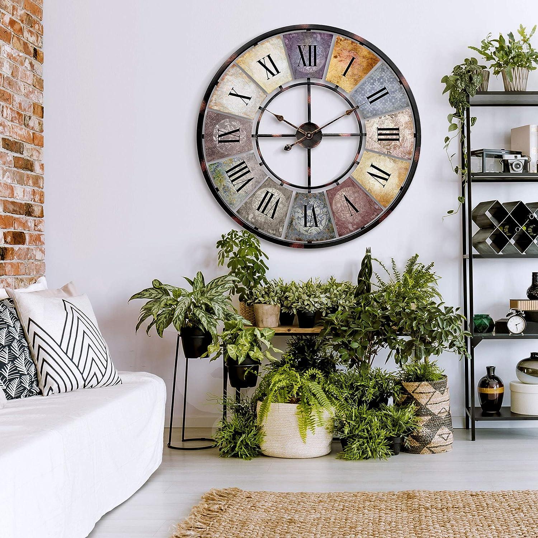 Industrial Xxl Large Vintage Metal Huge Wall Clock Oversized Antique Retro Designer Wall Art Black Diameter 31 5 Inch 80 Cm Vintage Amazon Co Uk Kitchen Home