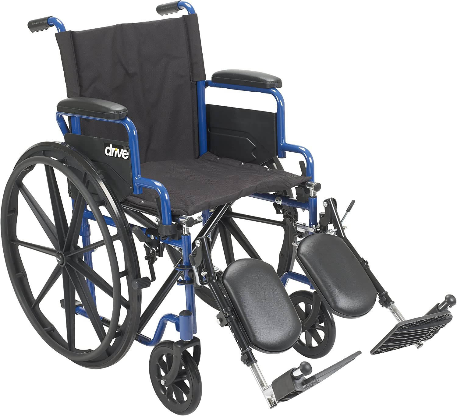 Drive Medical Blue Streak Wheelchair with Flip Back Desk Arms, Elevating Leg Rests, 18 Inch Seat: Health & Personal Care