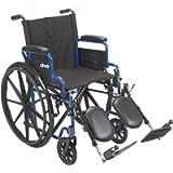 Drive Medical BLS18FBD-ELR Blue Streak Wheelchair with Flip Back Desk Arms, Elevating Leg Rests, 18 Inch Seat