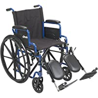 """Drive Medical Blue Streak Wheelchair With Flip Back Desk Arms, Elevating Leg Rests, 16"""", 1 Count"""