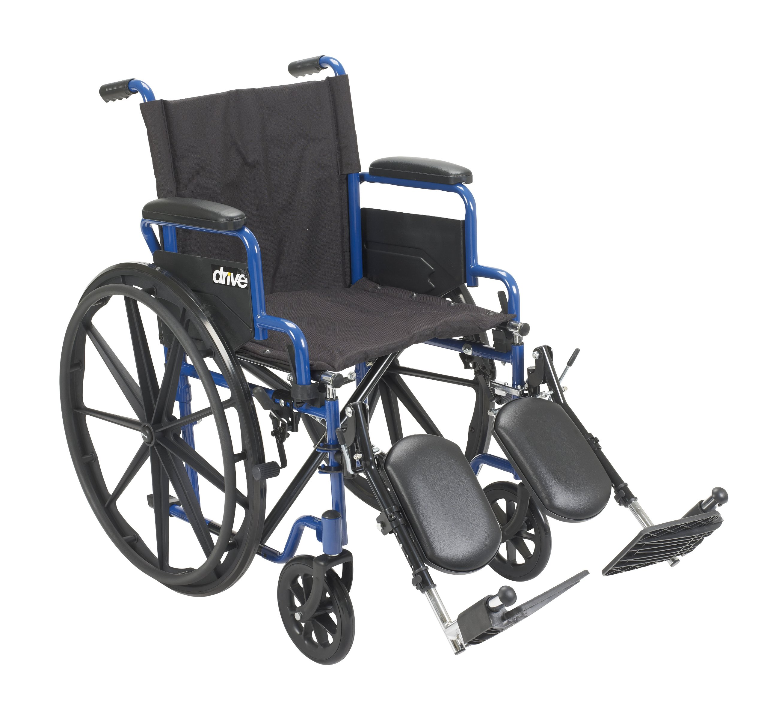 Drive Medical Blue Streak Wheelchair with Flip Back Desk Arms, Elevating Leg Rests, 18'' Seat