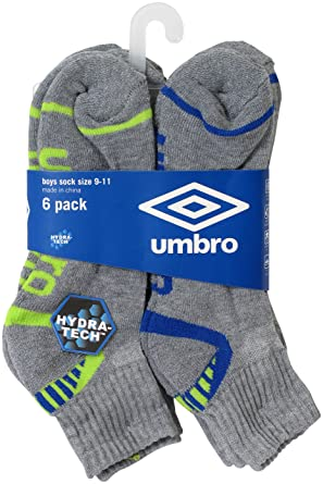 Umbro Boys 6 Pack hydra-tech Athletic Quarter calcetines