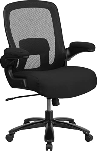 Flash Furniture Big Tall Office Chair Black Mesh Executive Swivel Office Chair with Lumbar and Back Support and Wheels