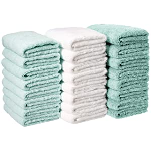 AmazonBasics Cotton Hand Towel - 24-Pack, Multi-Color (Seafoam Green, Ice Blue, White)