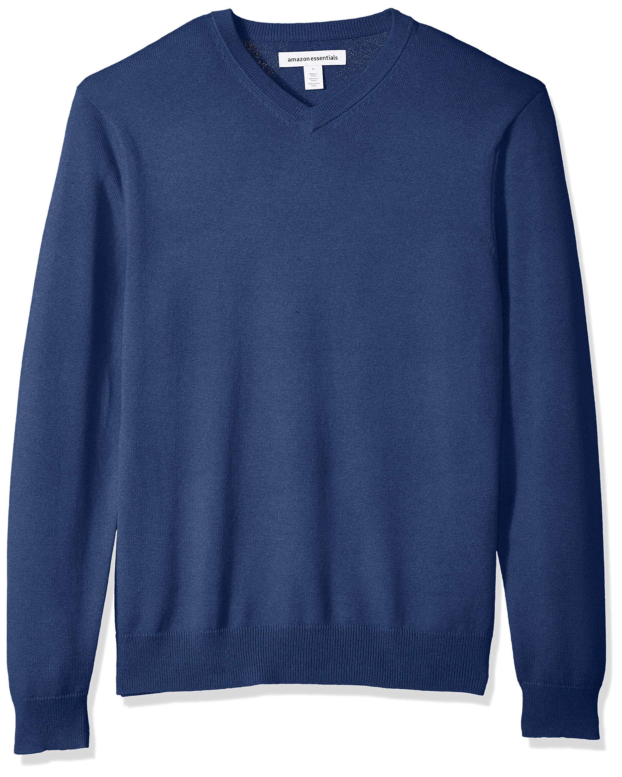 Amazon Essentials Men's Standard V-Neck Sweater, Blue Heather, Large