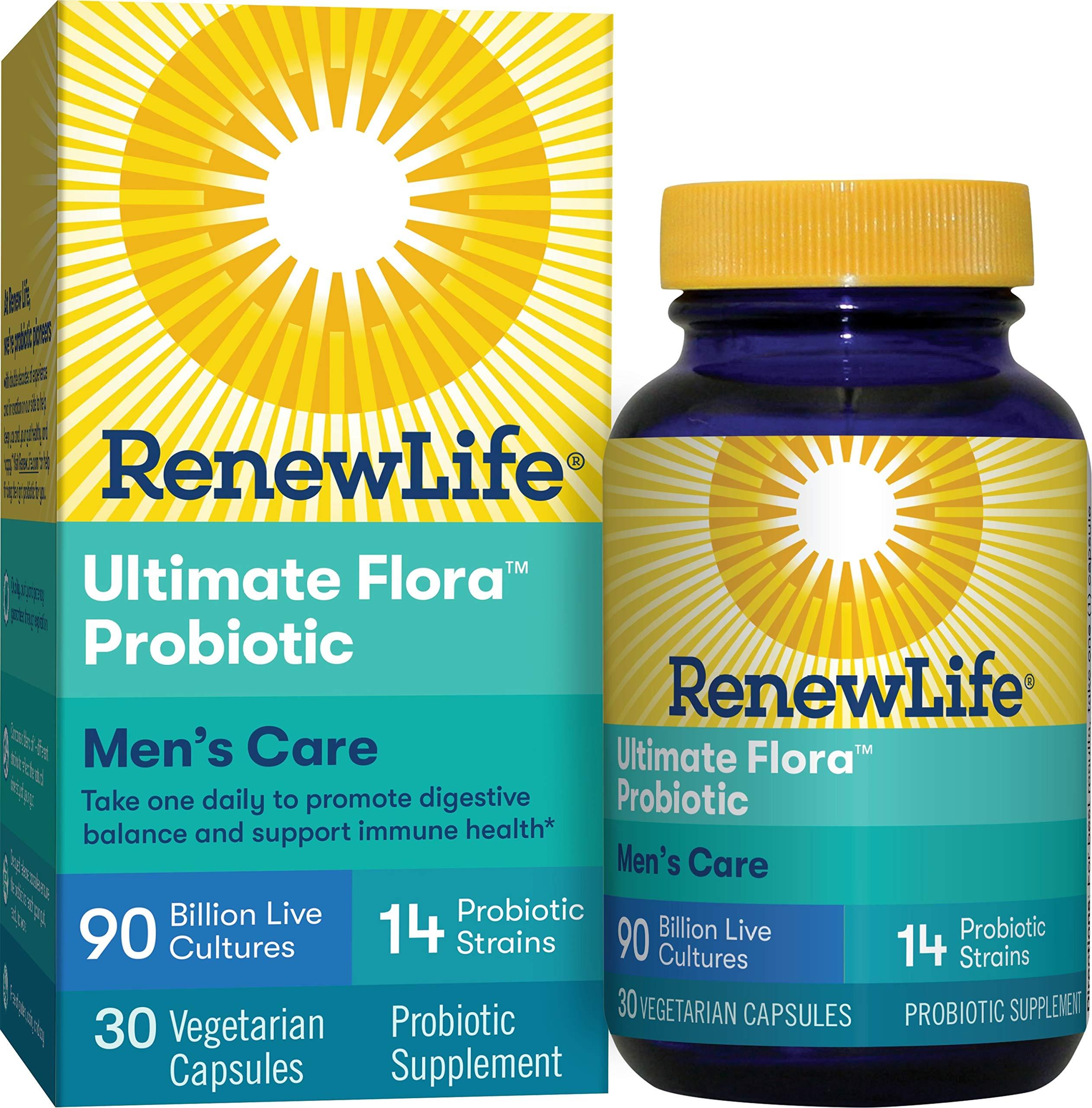 Renew Life Adult Probiotic - Ultimate Flora Men's Care Probiotic Supplement - Gluten, Dairy & Soy Free - 90 Billion CFU - 30 Vegetarian Capsules by Renew Life