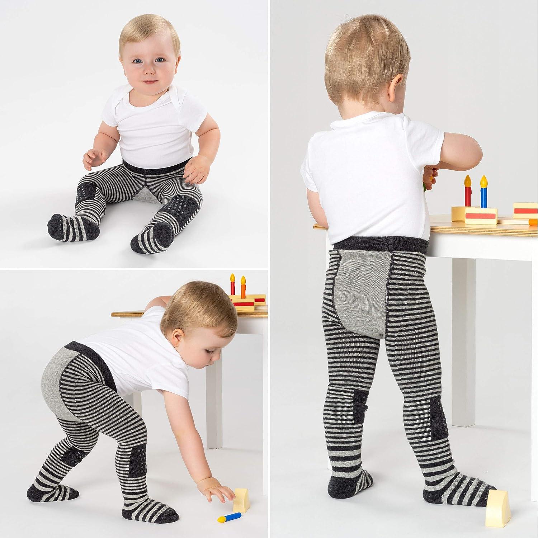 Streifen Grau LaLoona Baby Krabbelstrumpfhose mit ABS Sohle elastische Kinder Strumpfhose mit Anti Rutsch Noppen