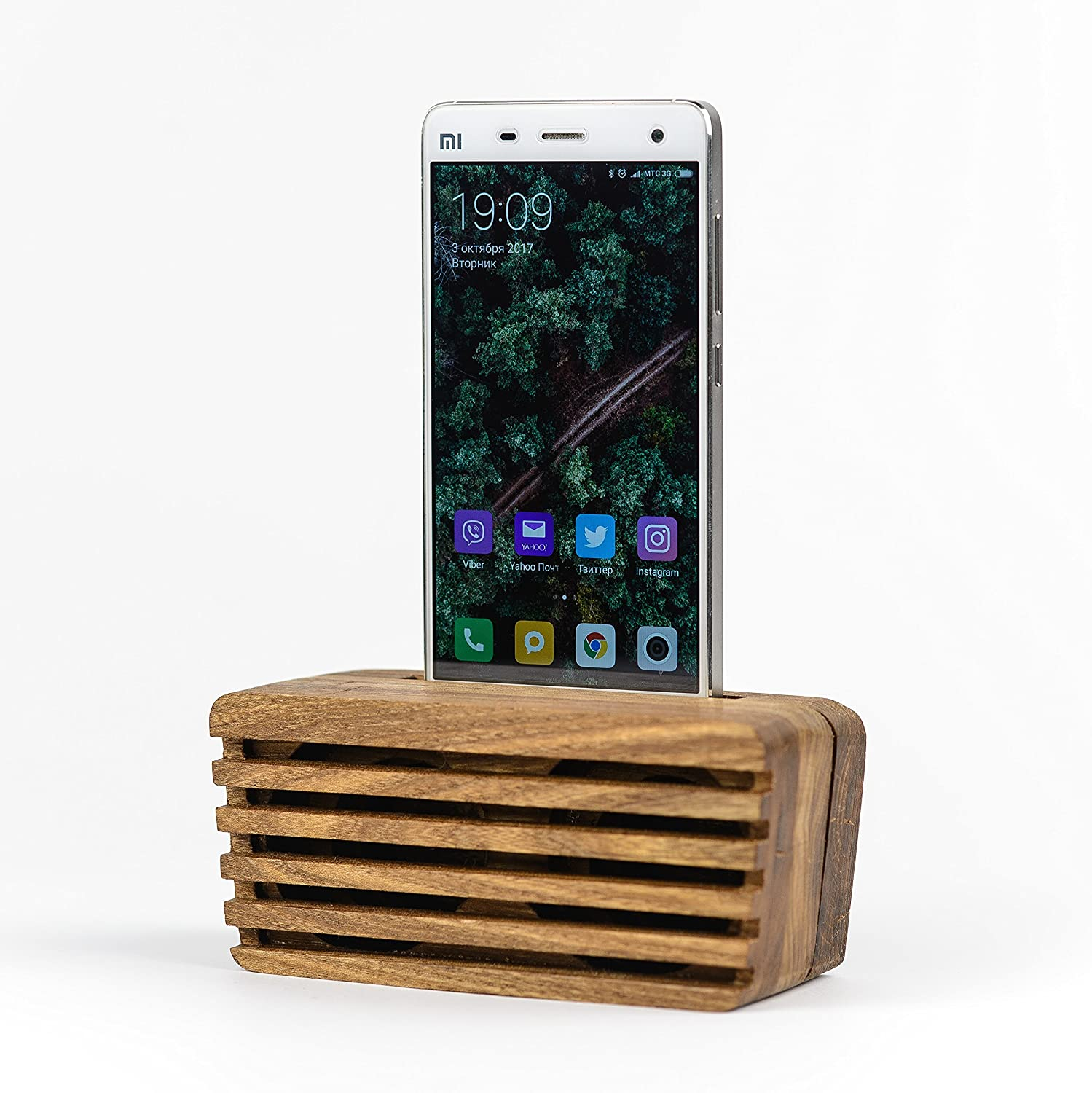 Acoustic Phone Speaker | OKTIE | Passive Phone Speaker | Wood Phone Dock | Android and iPhone | Great Gift | Retro Speaker Amplifier