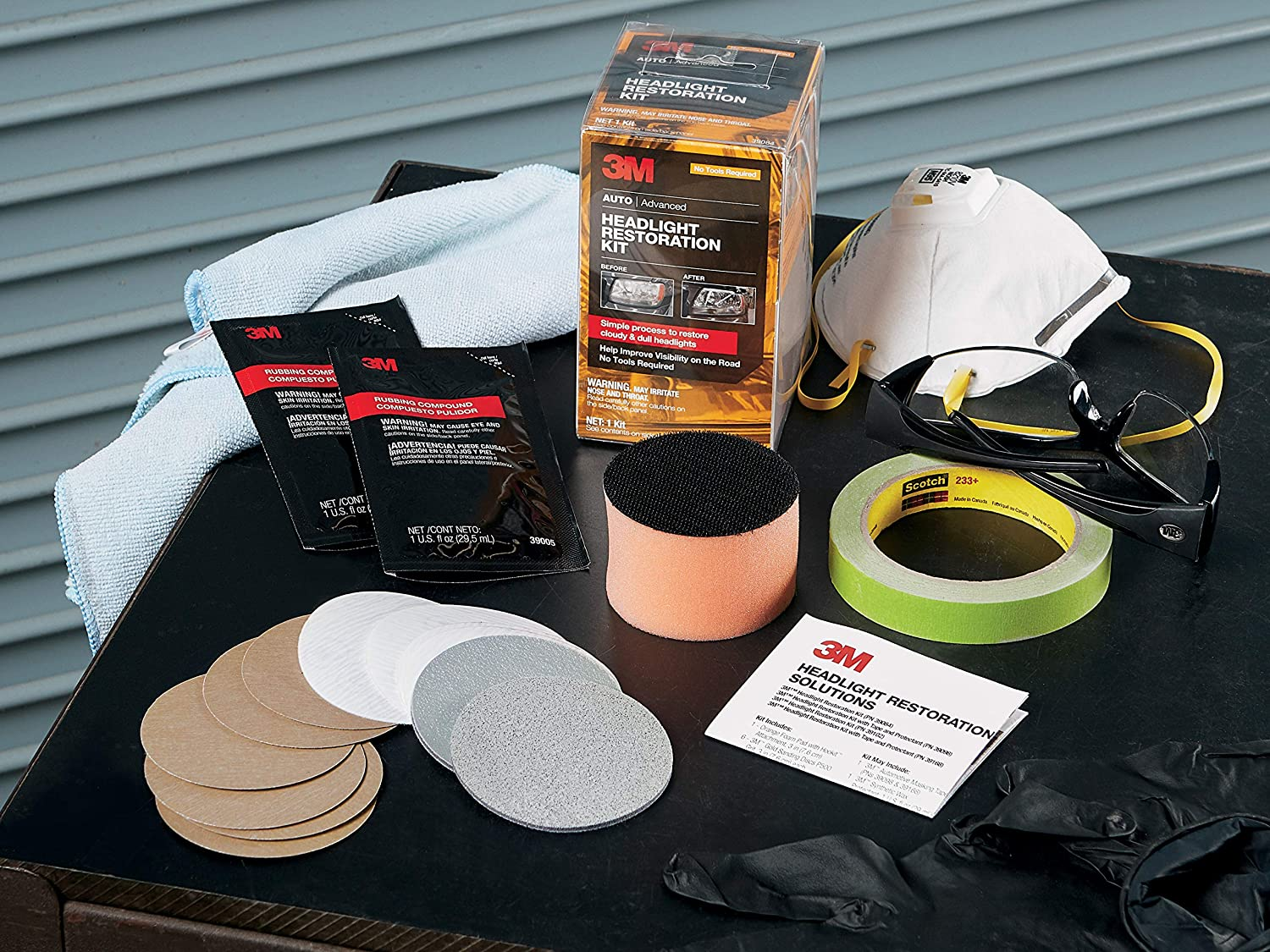3M Headlight Restoration Kit, Simple Process to Restore Cloudy & Dull Headlights, Hand Application, 1 Kit 91H5jxcmWFL