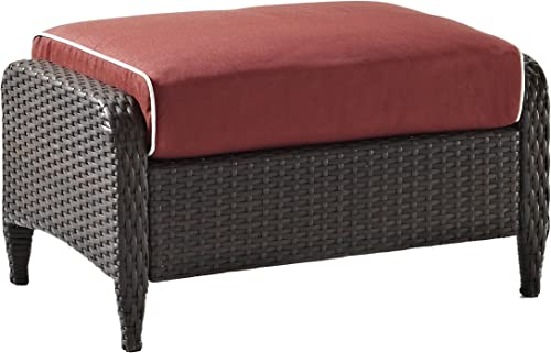 Crosley Furniture Kiawah Outdoor Wicker Ottoman with Sangria Cushions – Brown