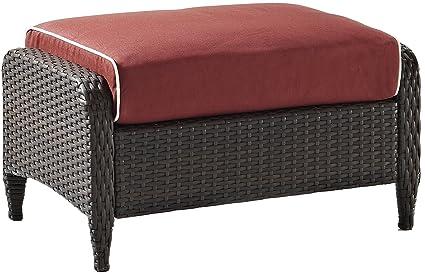 Crosley Furniture Kiawah Outdoor Wicker Ottoman With Sangria Cushions    Brown