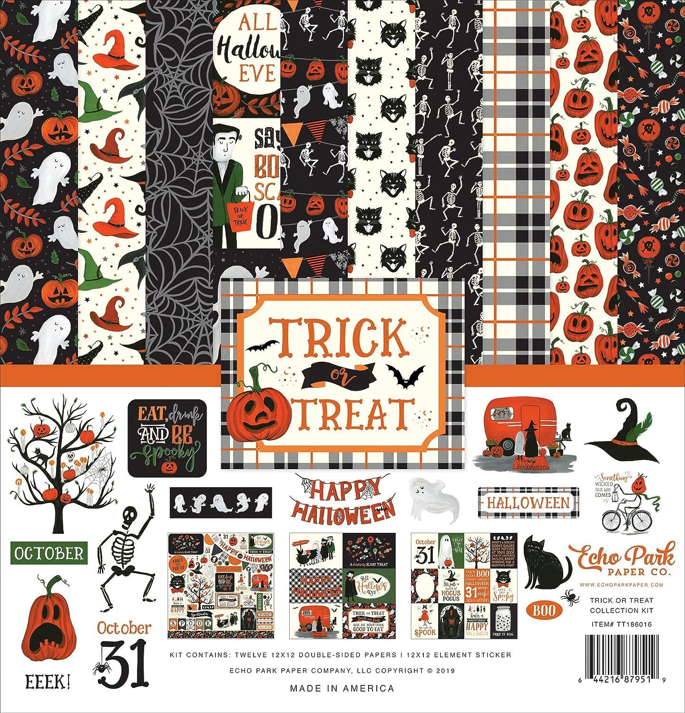 30,5 x 30,5 cm Vert Noir Echo Park Paper Company Papier Orange Gris