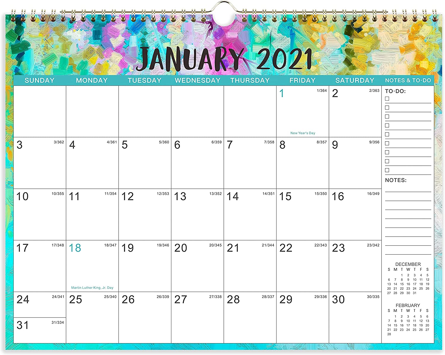 "2021 Calendar - 12 Monthly Wall Calendar with Thick Paper, 14"" x 11"", Jan. 2021 - Dec. 2021, Twin-Wire Binding + Hanging Hook + Unuled Blocks with Julian Date, Horizontal - Oil Painting"