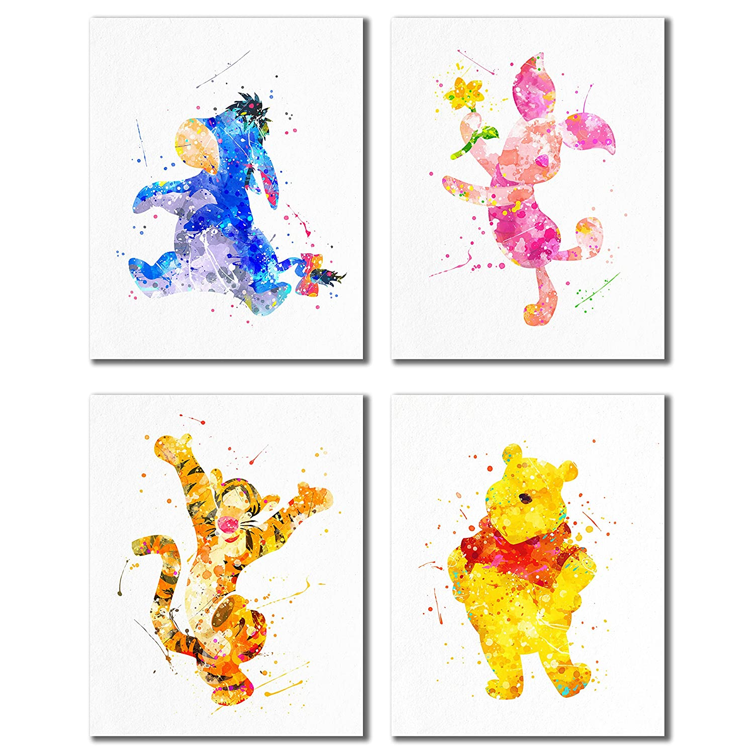 Winnie the Pooh Watercolor Prints - Nursery Wall Art Decor Prints - Set of Four 8x10 Photos Tigger Eeyore Piglet