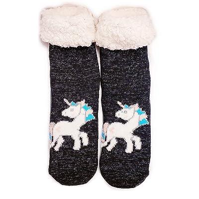 Title Deluxe Sherpa Fleece Lined Knit Non-Slip Unicorn Glitter Winter Slipper Socks (black) at Women's Clothing store